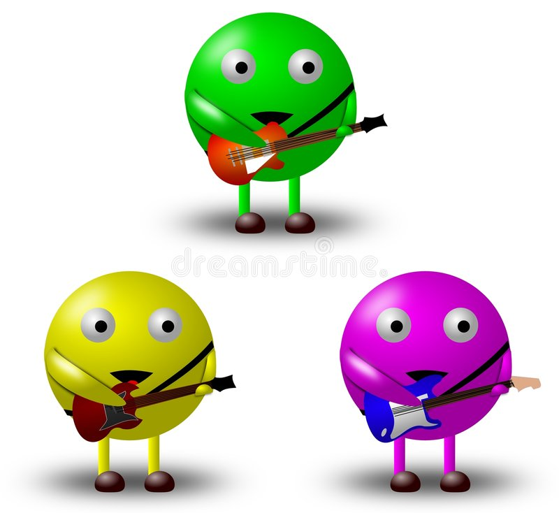 3 personajes de dibujos animados con las guitarras -1/2 fotografía de archivo libre de regalías