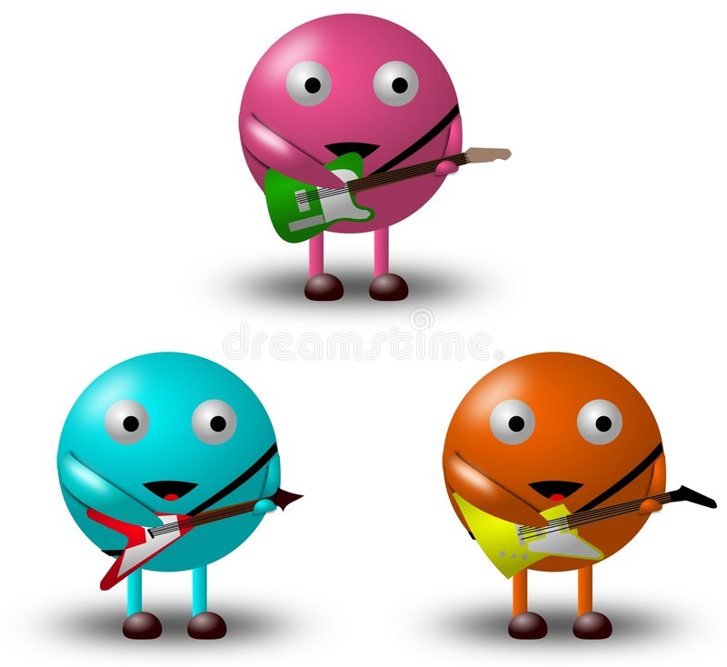 3 personajes de dibujos animados con las guitarras -2/2 imágenes de archivo libres de regalías