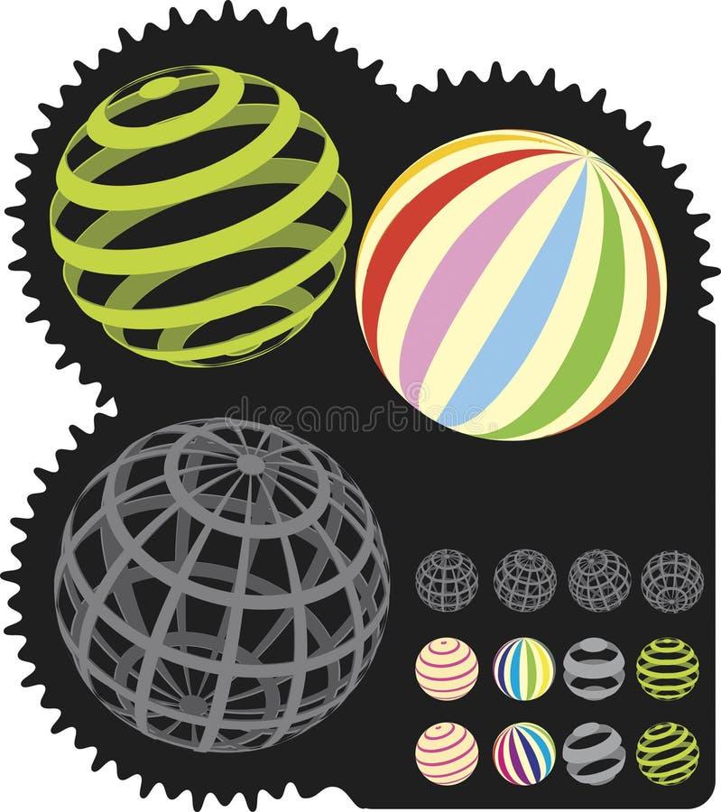 3 piłek kolorowych d sfery royalty ilustracja