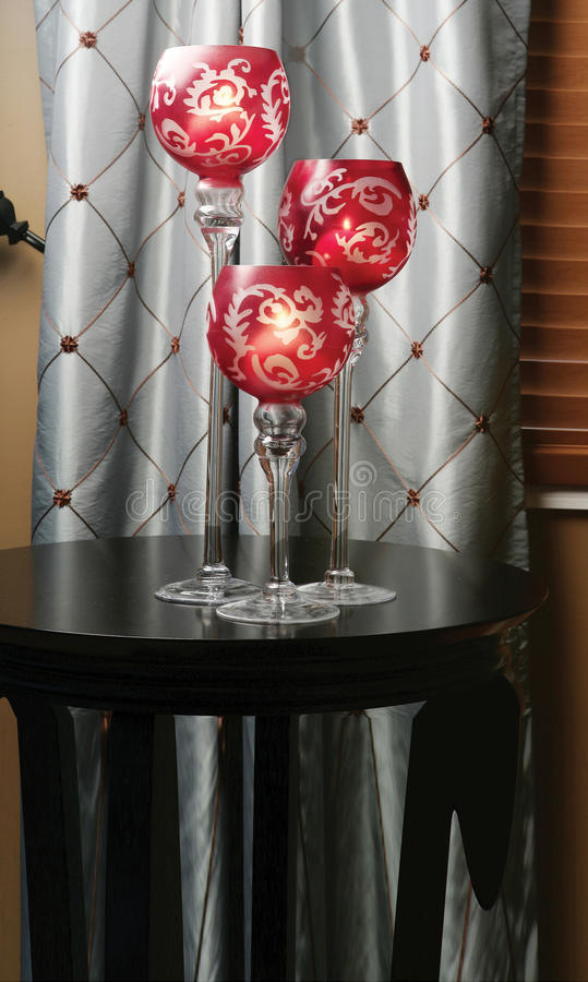3 Piece Candle Holder. Set on top of a table stock photography