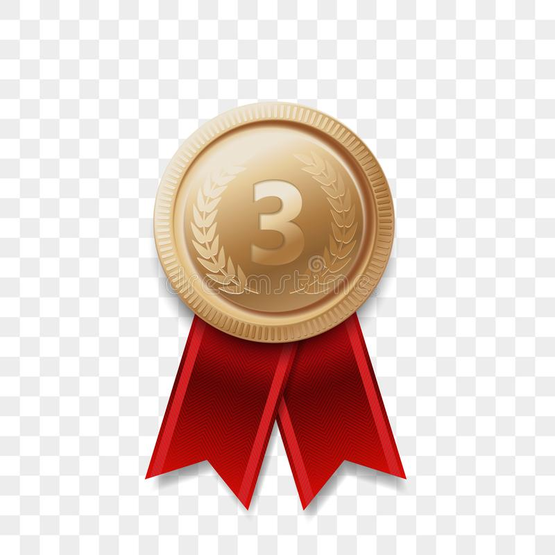 Free 3 Place Winner Bronze Medal Vector Award Ribbon Stock Photography - 114312562
