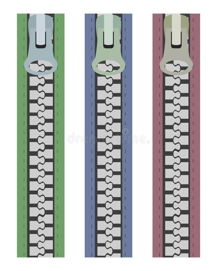 3 prendedores do zipper ilustração do vetor
