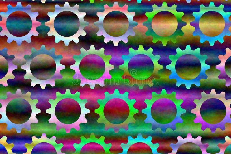 3 psychedelic kugghjul vektor illustrationer