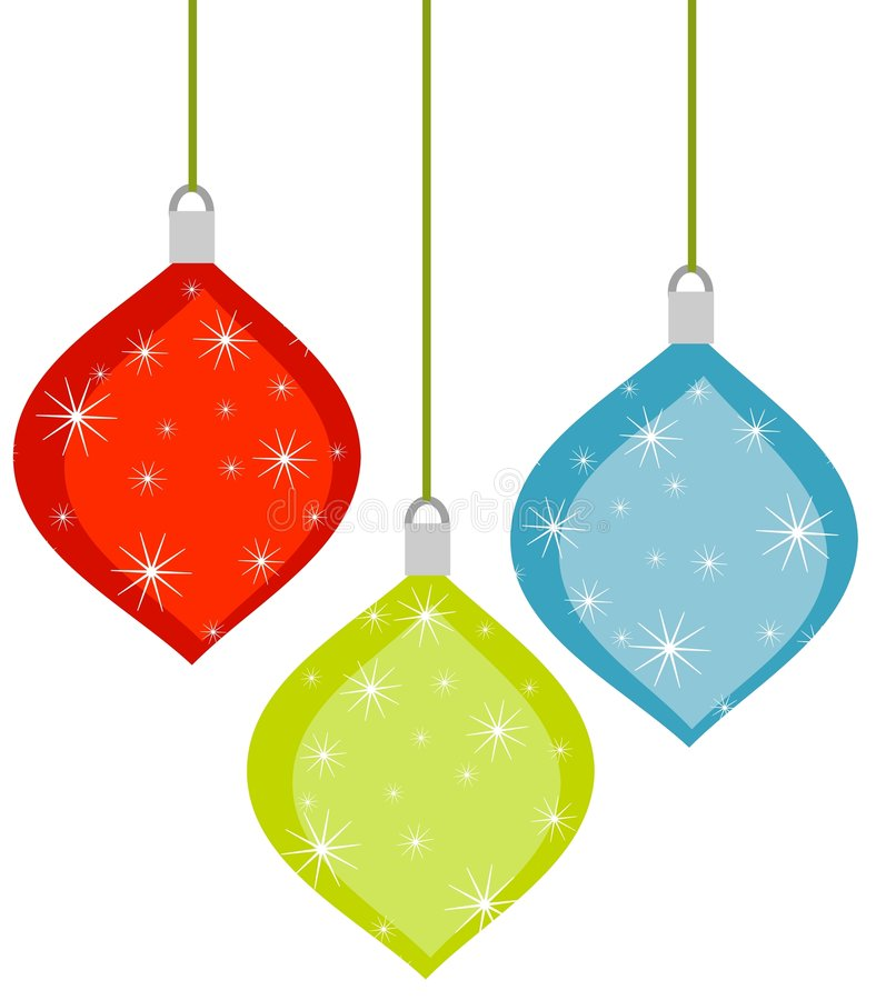 3 rétro ornements de Noël illustration stock