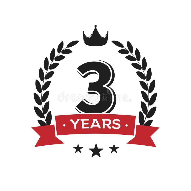 Free 3 Rd Birthday Vintage Logo Template. Third Years Anniversary Retro Isolated Vector Emblem With Red Ribbon And Laurel Wreath On Stock Photography - 166619342