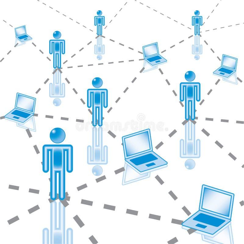 3. Red de ordenadores en azul. libre illustration