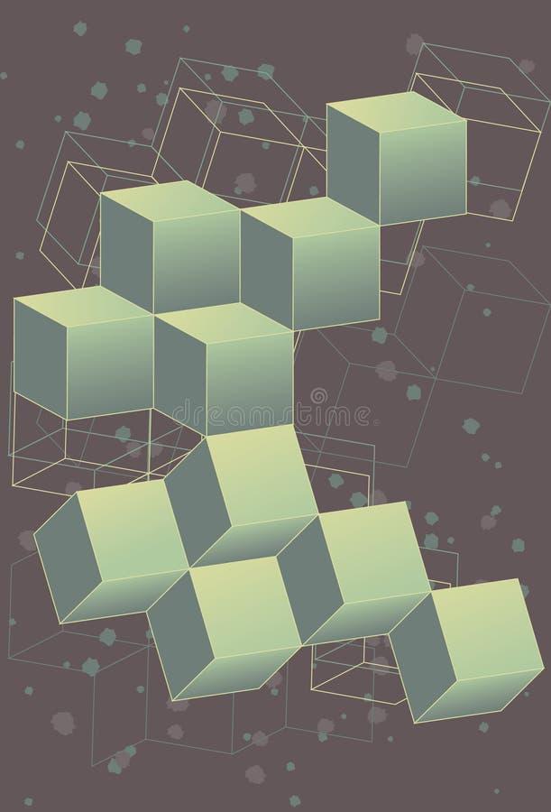 3 retro cubi dimensionali dello spazio cosmico illustrazione di stock