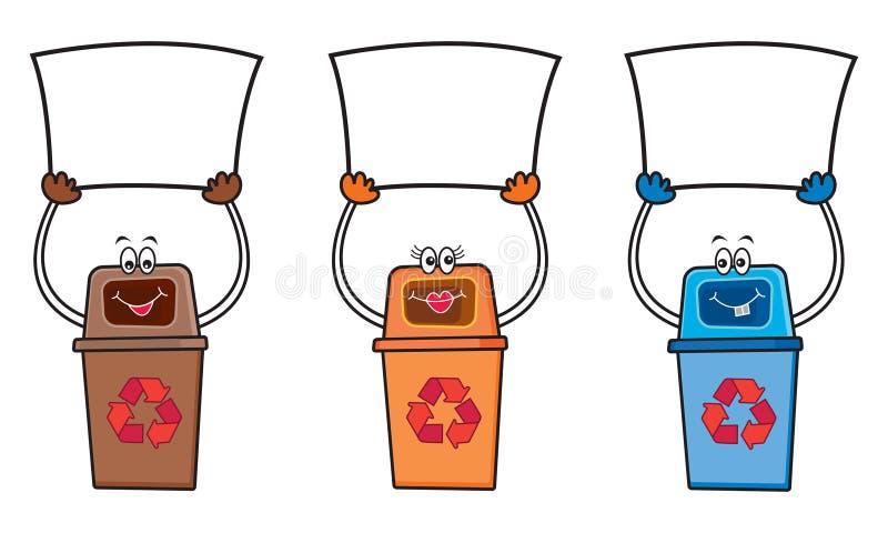 3 riciclano gli scomparti con il segno in bianco royalty illustrazione gratis