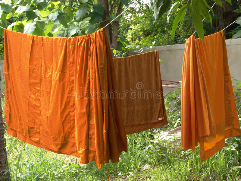 Download Buddhist Monks Robes Hanging Stock Image - Image of towel, trees: 5611275