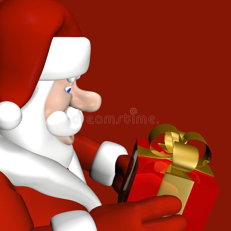 3 Santa profil prezent ilustracji