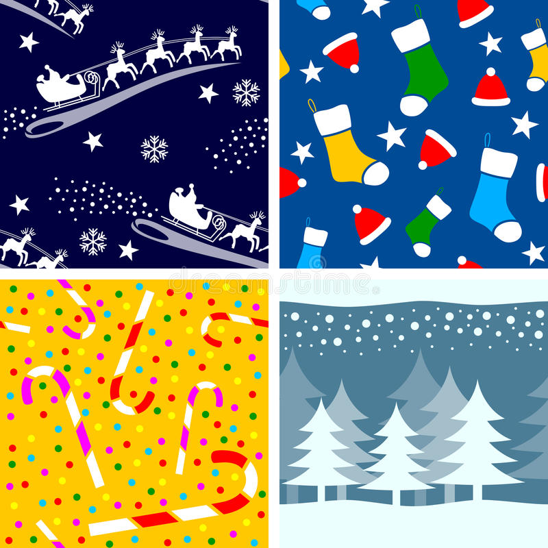 3 seamless tegelplattor för jul royaltyfri illustrationer