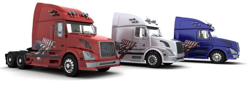 3 semi-carros americanos con el indicador stock de ilustración