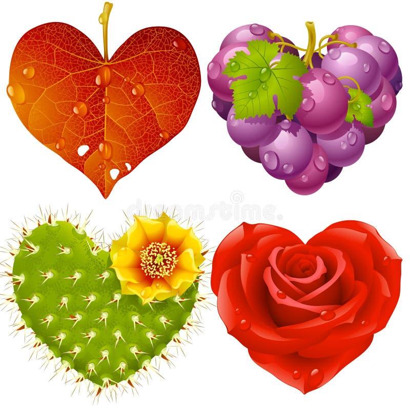 3 serc ustalony kształt ilustracja wektor