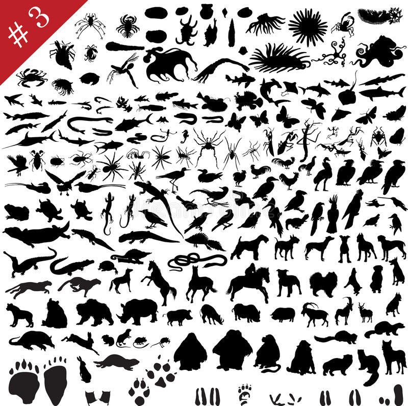 # 3 set of animal silhouettes stock illustration