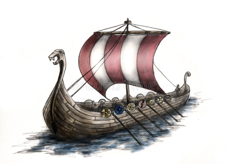 3 ship viking vektor illustrationer