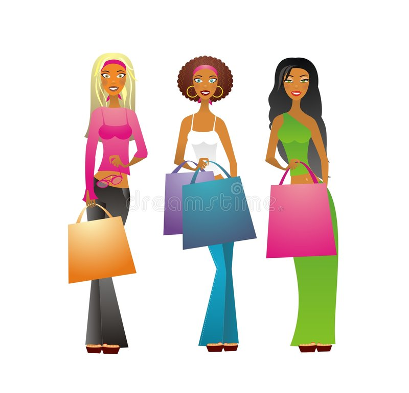 3 Shopping girls. Vector illustration of 3 girls with shopping bags