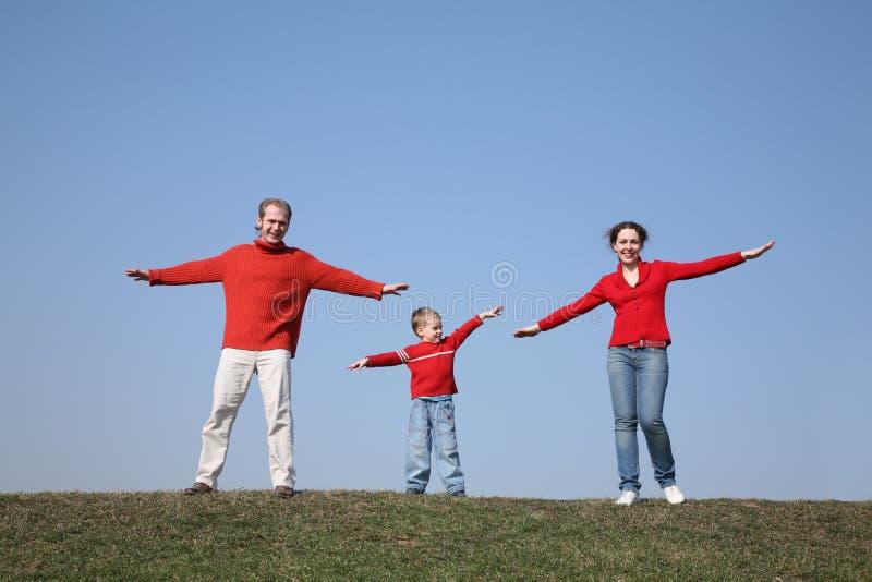 3 siłowni rodzin łąka obrazy royalty free