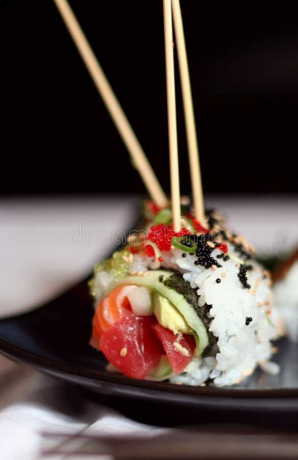 3 skewered sushi obrazy stock