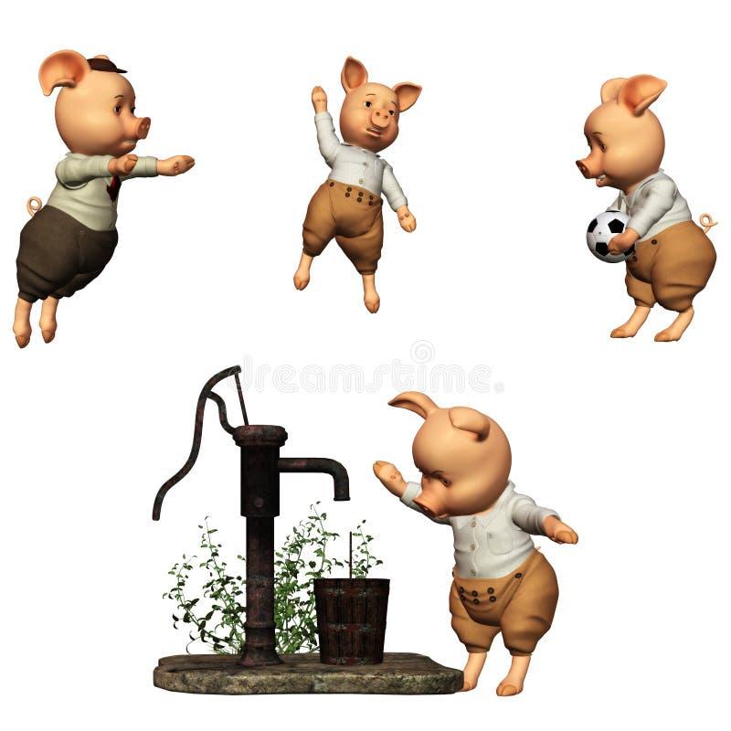 3 små pigs royaltyfri illustrationer