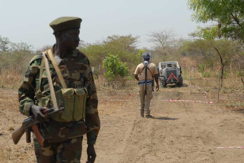 3 soldatsudanese arkivfoton