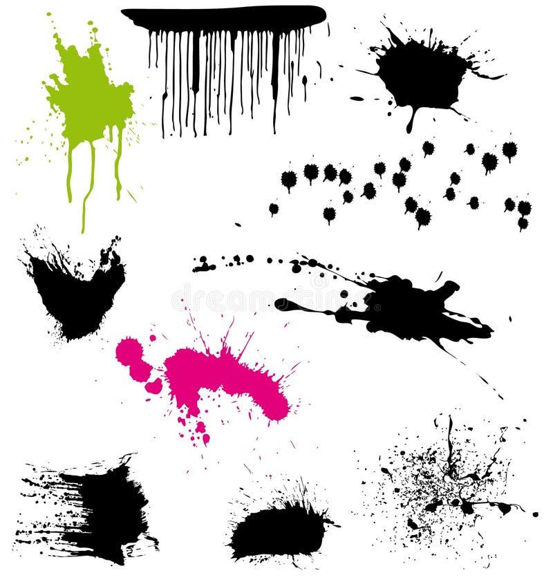 3 splatters комплекта иллюстрация вектора