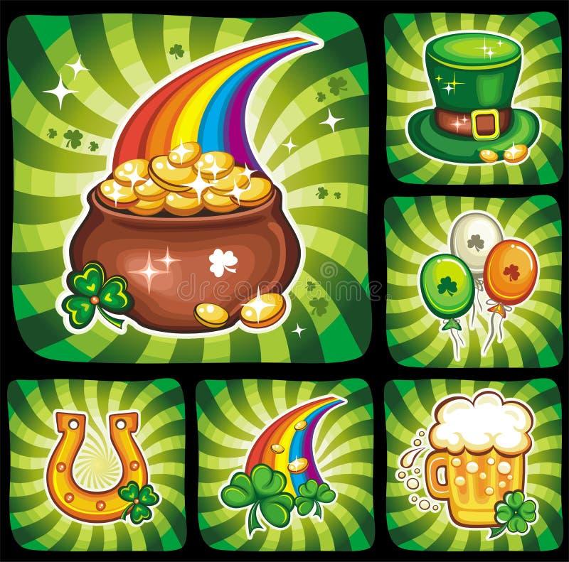 3 St. Patrick het pictogram vastgestelde reeks 3 van de Dag vector illustratie