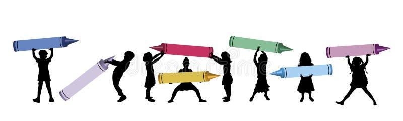 3 stora crayons royaltyfri illustrationer