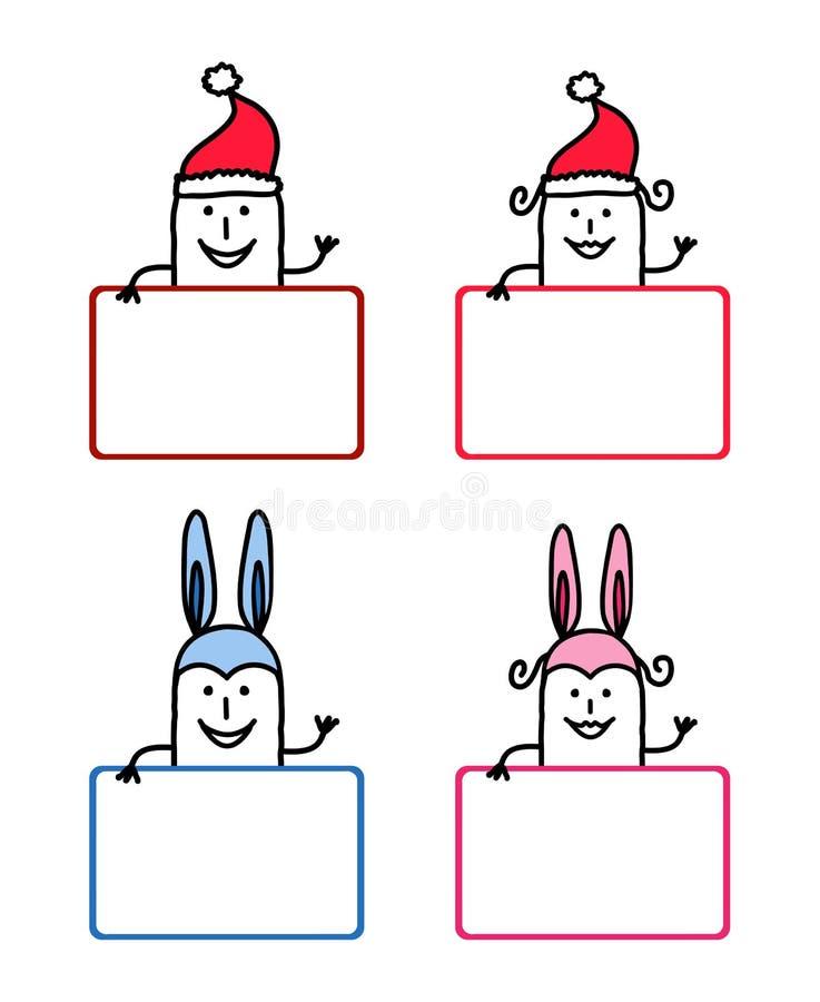 3 tecknad filmetiketter stock illustrationer
