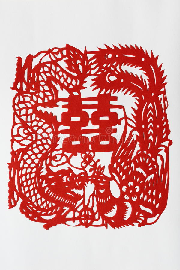 3 tnący dwoisty smoka szczęścia papieru phenix ilustracja wektor