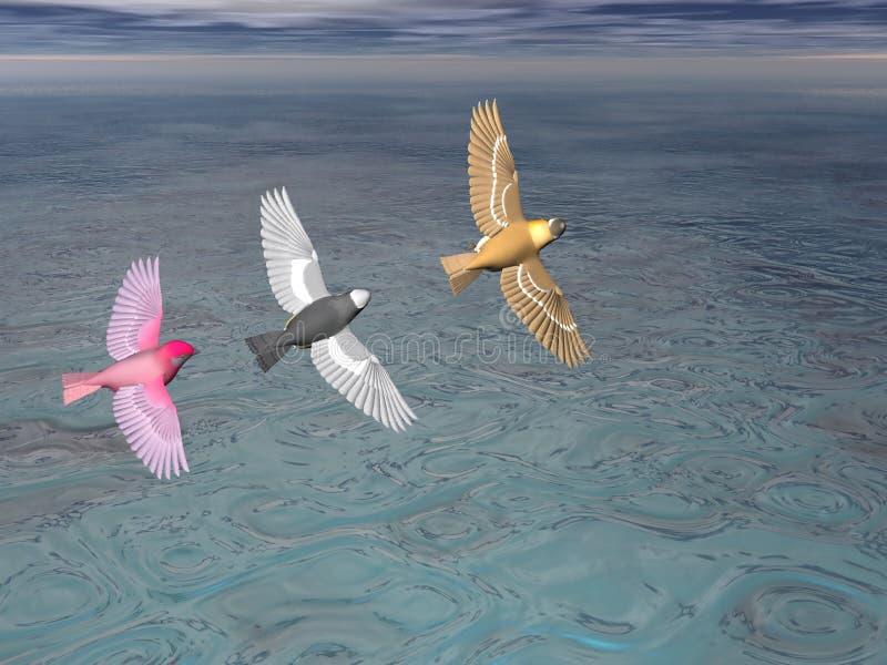 3 uccelli nella formazione illustrazione di stock