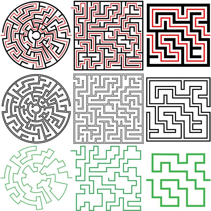 3 variationer för lösningar för mazepussel set stock illustrationer