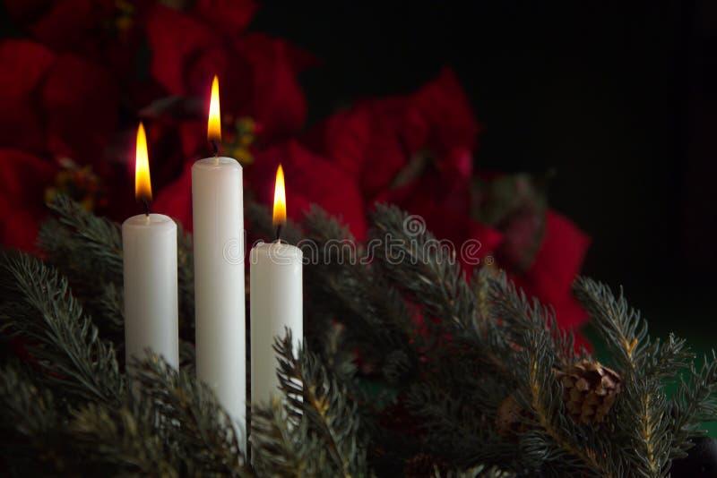 3 velas del advenimiento imágenes de archivo libres de regalías