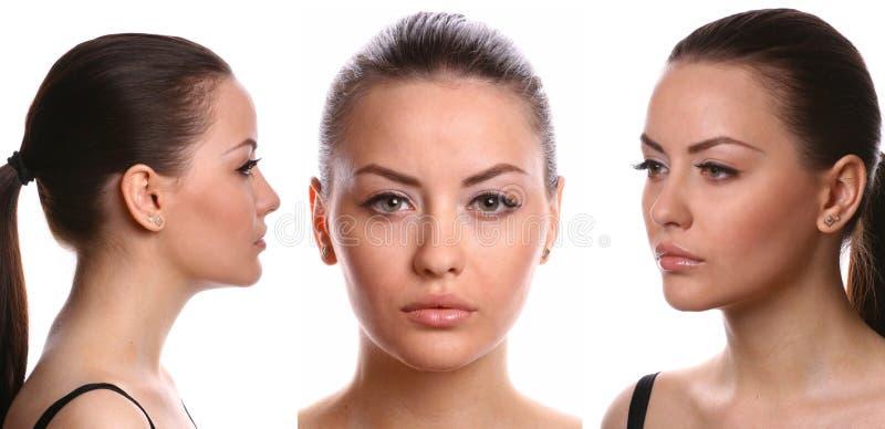 3 vistas de la cara femenina fotos de archivo libres de regalías