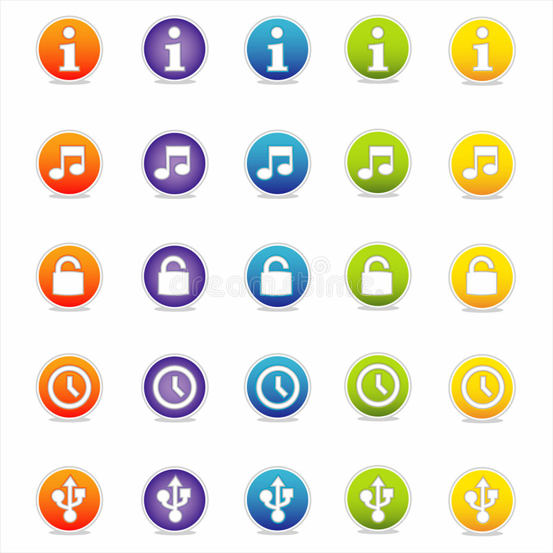 3 wektora ikon kolorowa sieci