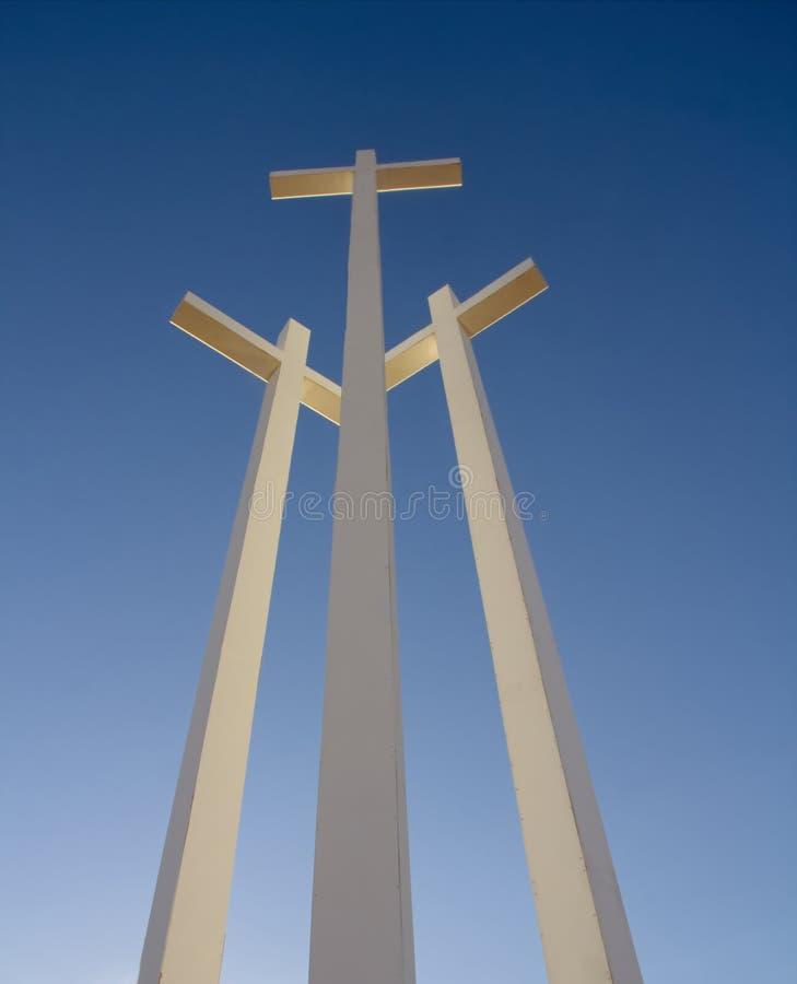 3 White Giant Metal Crosses in Arizona royalty free stock image
