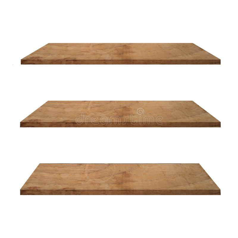 Free 3 Wood Shelves Table Isolated On White Background And Display Montage For Product Royalty Free Stock Photos - 150016988