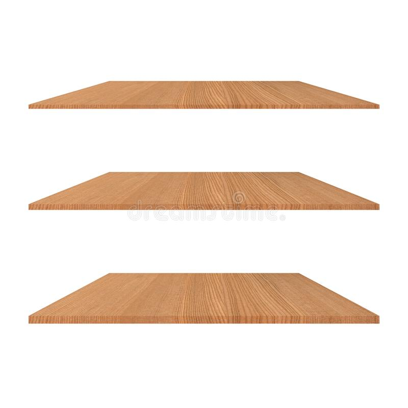 Free 3 Wood Shelves Table Isolated On White Background With Different Perspective For Decorative Stock Images - 82321944