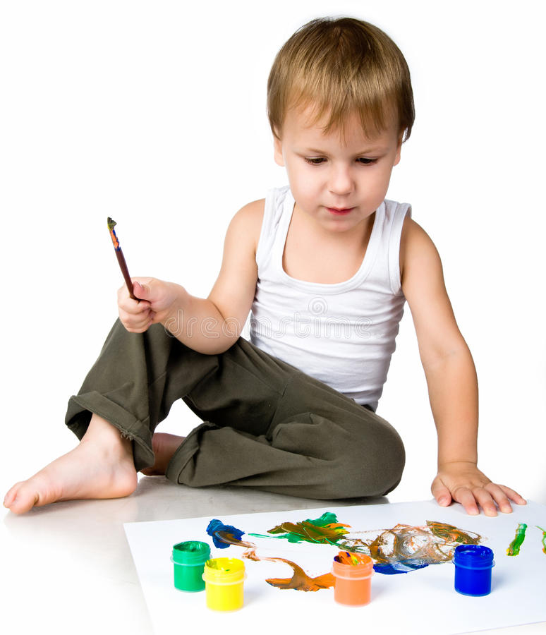 Download 3 Year Old Boy Covered In Bright Paint Stock Image - Image of little, education: 20662839