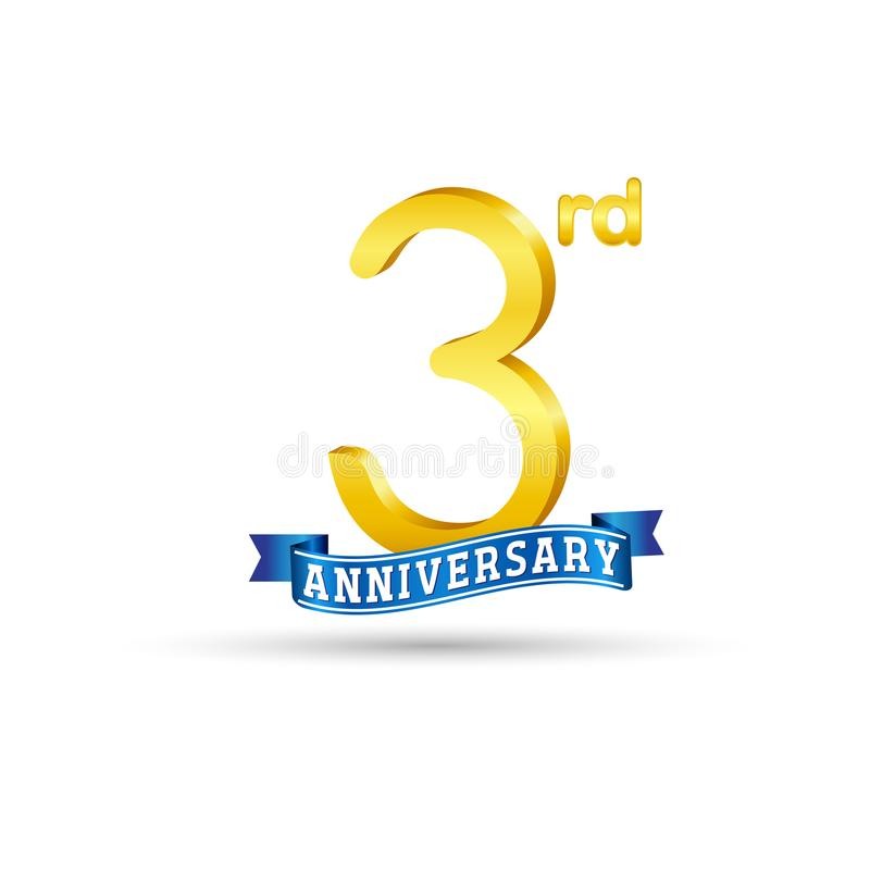 Free 3 Years Anniversary Logo With Blue Ribbon Stock Image - 118008741