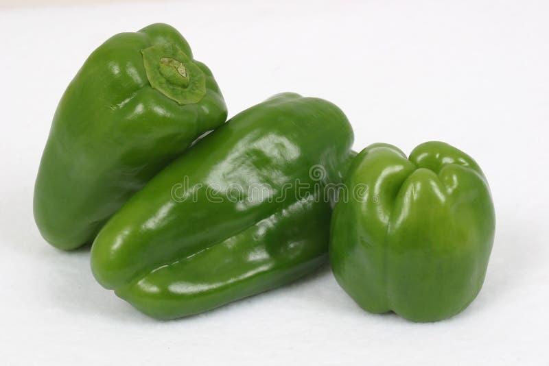 3 zieloną paprykę słodką zdjęcia stock