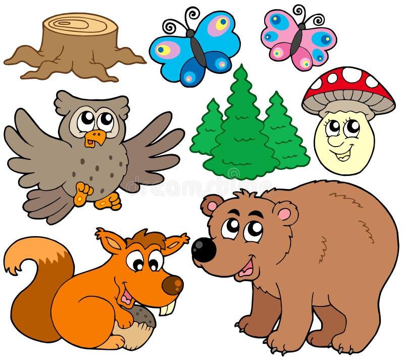 3 zwierząt kolekci las royalty ilustracja