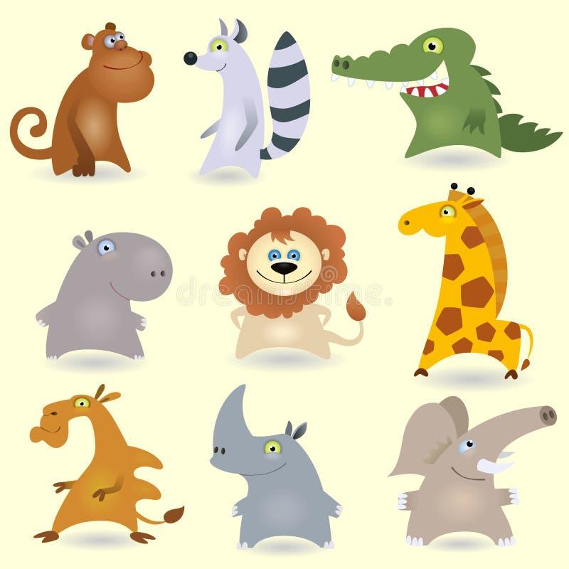 3 zwierząt kreskówki set royalty ilustracja
