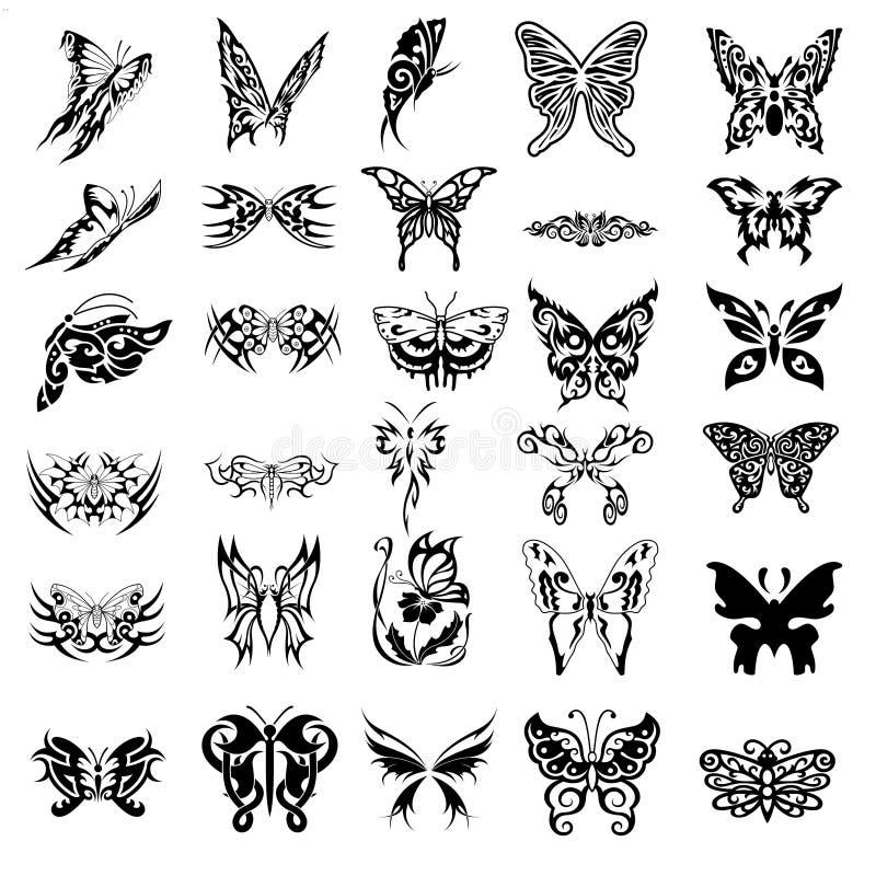 30蝴蝶符号纹身花刺 皇族释放例证