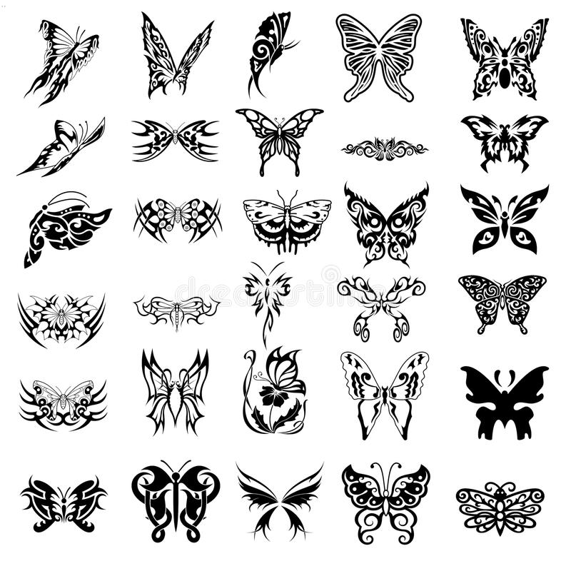 download30例证向量蝴蝶花刺符号纹身.v例证风水中式图片