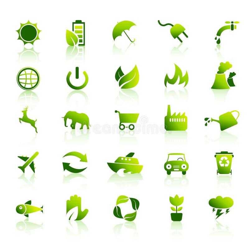 30 ícones verdes de Eco ajustaram 1 ilustração royalty free