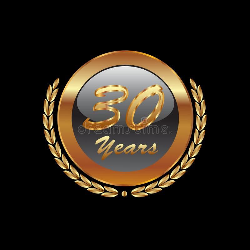 30 лет иконы золота годовщины иллюстрация вектора