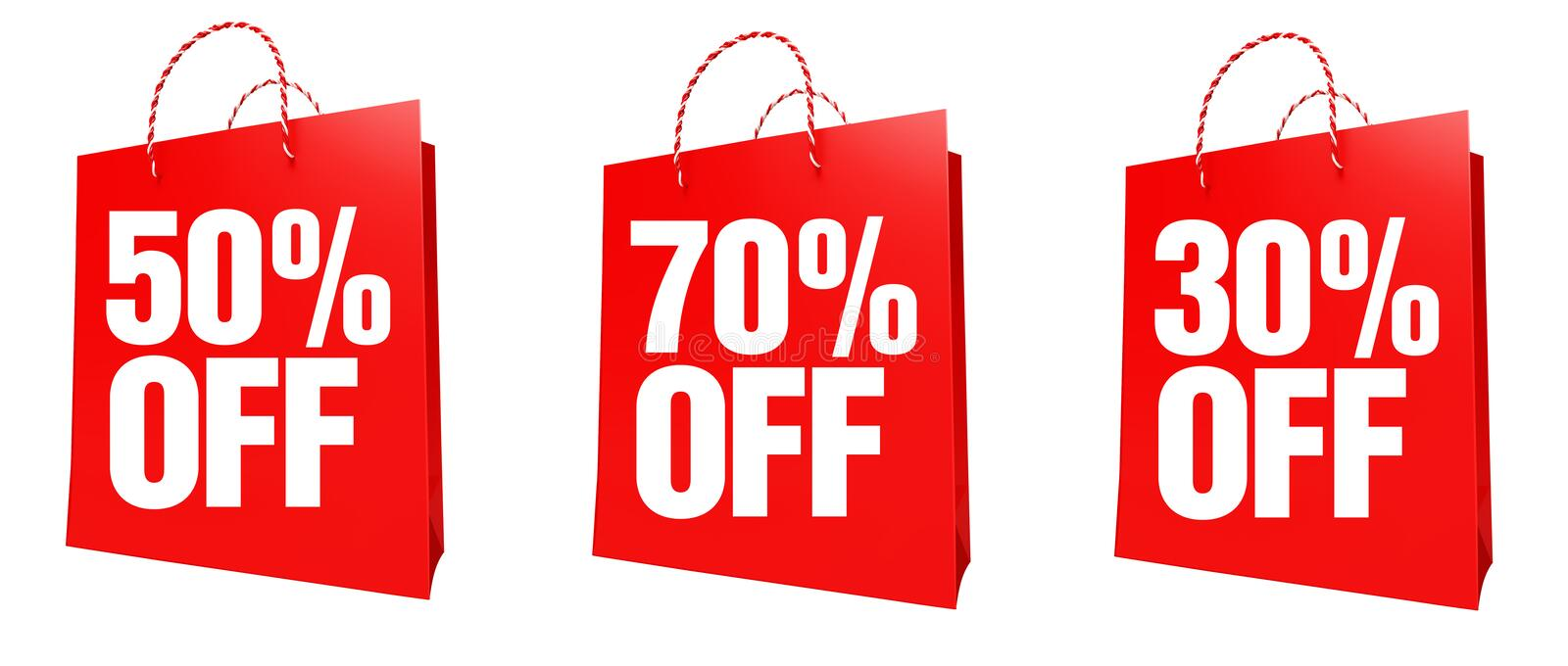 30-70 Percentage sign. Shopping bags with 30-70% percentage sign royalty free illustration