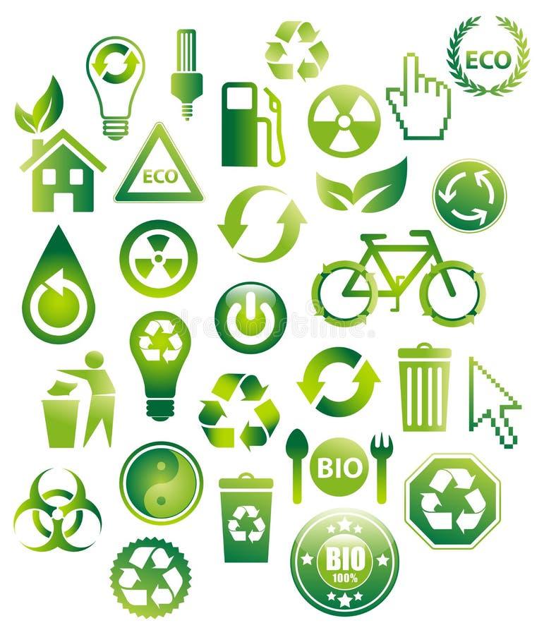 30 bio iconos de Eco ilustración del vector