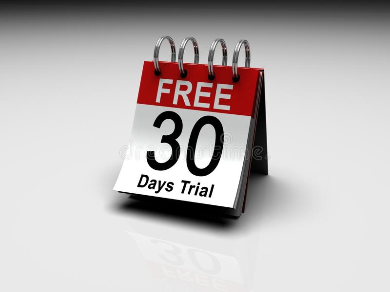 30 Days Free Trial. A calendar with 30 Days Free trial printed on the date royalty free illustration