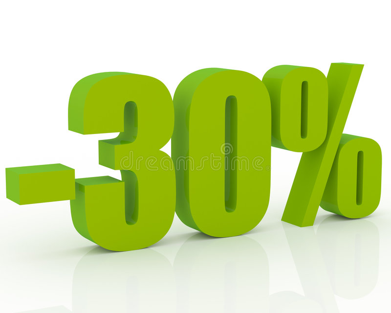 30% discount. Olive green 3D signs showing 30% discount and clearance